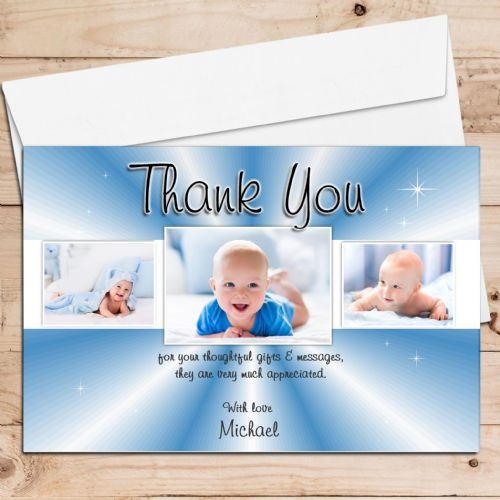 10 Personalised Thank you PHOTO Cards N132 for Birthdays Christening or Baby Birth